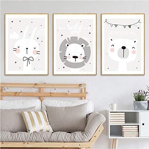 Horolas Set di 3 Poster per cameretta dei bambini, Quadri cameretta bambini animali, formato DIN A4, senza cornici