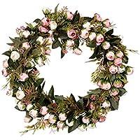 Amosfun Rosa Artificial Corona de Flores Hojas Guirnalda de Flores Guirnalda Colgante para la Puerta de la Boda Tienda Ventana Ventana - sin luz (40 cm)