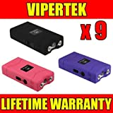 VIPERTEK (9) VTS-880 60 Million Volt Mini Stun Gun 3 Colors Mix - Wholesale Lot
