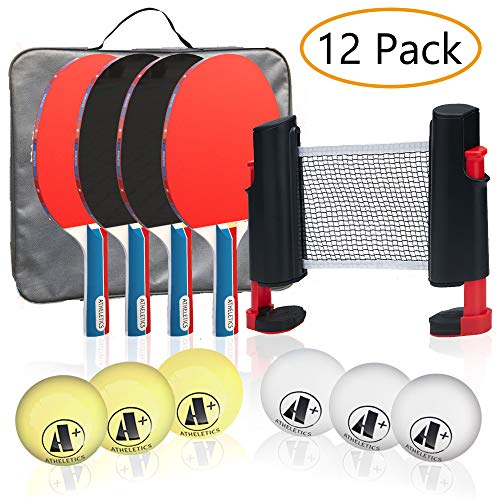 Cheapest Prices! A+ Athletics Portable Table Tennis Set with 4 Premium Paddles, 6 Balls, Portable El...