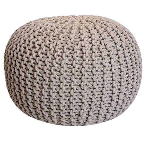casamia Pouf Ø 55 cm Strickhocker Sitzpouf Sitzpuff Bodenkissen Grobstrick-Optik extrahoch Höhe 37 cm Farbe beige