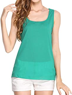 Lookatool Tops T-Shirt Blouse Women O-Neck Sleeveless Pure Color Vest Chiffon