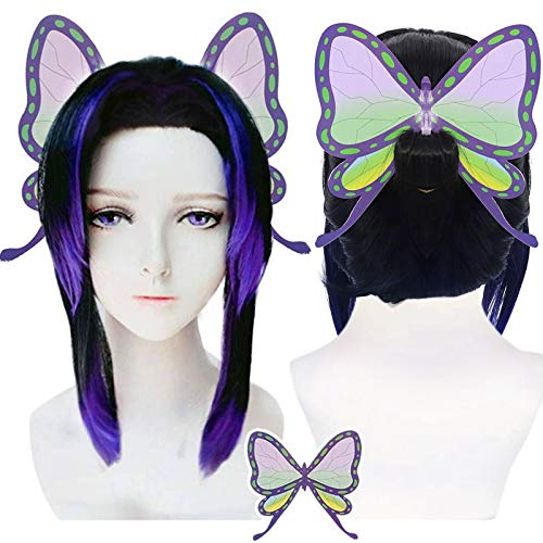Anogol Wig + { 1 Butterfly AccessorY } Gradient Black Purple Wig Cosdplay Short Synthetic Hair Wigs for Comic