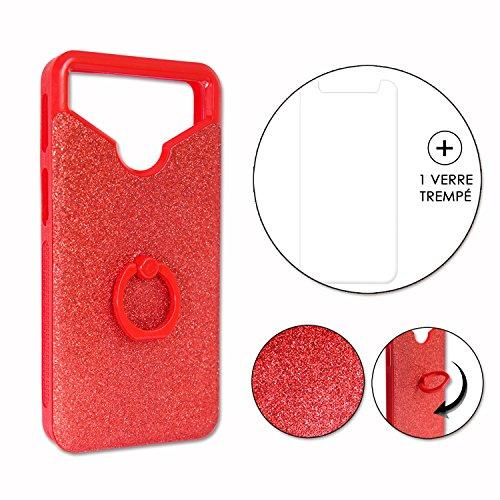 Unbekannt PH26 Doogee Homtom HT7 Pro Rückseitenschutz mit Strass-Effekt und Konturen aus Silikongel stoßfest mit Ring für Selfies, Fotos und Videohalterung