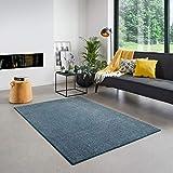 Carpet Studio Santa Fe Teppich Wohnzimmer 160x230cm, Teppich Blau für Schlafzimmer, Esszimmer & Wohnzimmer, Einfach zu Säubern, Weiche Oberfläche, Kurzflor - Blau