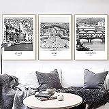 RuiChuangKeJi Lienzo de Arte 3 Piezas 60x80cm sin Marco Venecia Florencia Roma Italia fotografía impresión Negro Blanco Italia Ciudades Pared Arte Imagen póster decoración de habitación