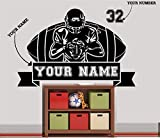 Personalized Choose Your Name & Numbers Custom Football Wall Sticker...