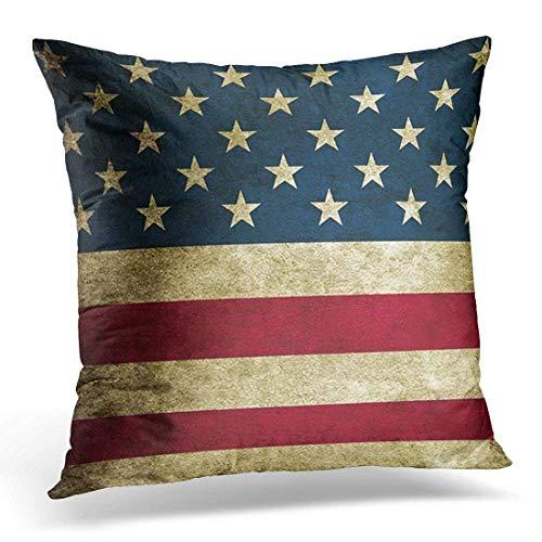 Funda de almohada de algodón, diseño rústico de la bandera americana patriótica, decoración del hogar, cuadrada (45,7 x 45,7 cm)