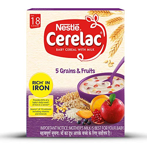 Nestlé CERELAC Baby Cereal with Milk, 5 Grains & Fruits – From 18 to 24 Months, 300g BIB Pack