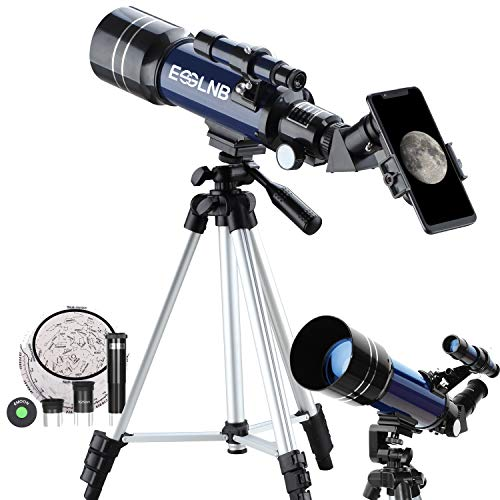 ESSLNB Teleskop Kinder Einsteiger 70/360 Fernrohr Teleskop Astronomie mit Smartphone Adapter Ausziehbares Stativ 3X Barlow und Mondfilter Aufrechte Bilder bieten