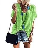 Momangel Color SóLido V-Cuello De Manga Corta De Las Mujeres Color Caramelo Suelta Camiseta Informal Superior Multicolor Opcional Fluorescent Green XL