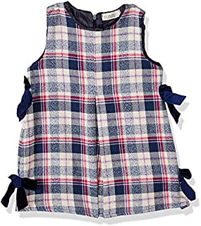Giggles Madras Plaid Side Ribbons Detail Sleeveless Dress for Girls - Multi Color, 12-18 Months