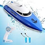 Remote Control Boat for Pools,12+KM/H Pool Boat with 2 Rechargeable Battery, 2.4 GHz Pool Toy for Kids (Only Works in Water,Two Kinds of Remote Controls Shipped Randomly)