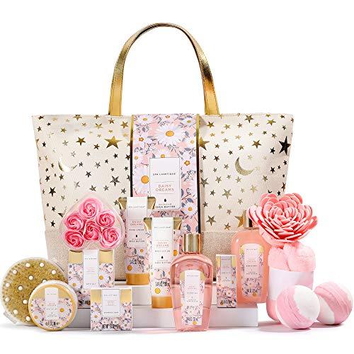 Spa Luxetique Coffret de Bain pour Femme,15PC Coffret Cadeauau Parfum de Marguerite, Sac Fourre-tout,Sels de Bain,Cadeau pour l'Anniversaireet des Fêtes