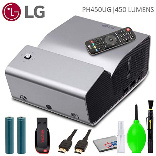 LG PH450UG 450-Lumen HD Ultra-Short Throw LED Portable Projector Bundled with USB Flash Drive, HDMI Cable and Cleaning Kit
