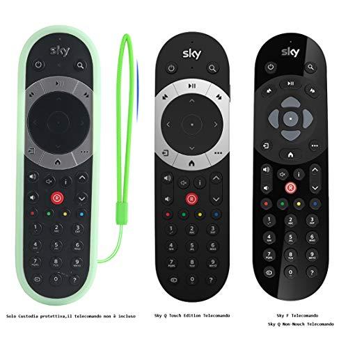 SIKAI Anti-Slip Custodia Protettiva in Silicone Compatibile con Sky Q Touch Edition/Sky Q Non-touch/Sky F Telecomando Guscio Copertura Antiurto Antiscivolo Protettiva Lavabile (Luminoso Verde)
