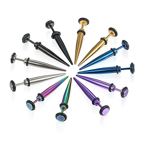 JewelryWe 6 Pairs of Hip Hop Mixed Color 16G Stainless Steel Taper with O Ring Fake Cheater Illusion Ear Plug Earrings-5MM