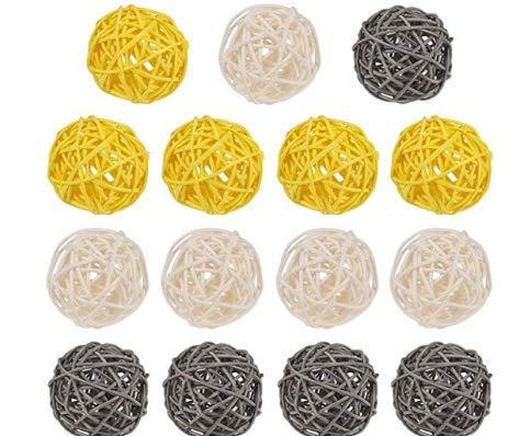DECARETA 15 Stücke Rattankugeln Deko Rattan Dekokugeln Kugeln Gelb/Weiß/Grau Hochzeit Wicker Rattan Ball 5cm Dekorative Vasenfüller Tischdeko Hängedeko für Party Weihnachten