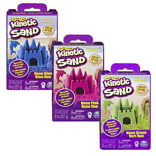 Kinetic Sand, 3 x 8oz Boxes of Moldable Sensory Play Sand (Neon Blue, Pink and Green)