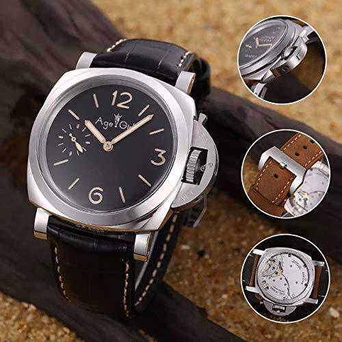 LESHARED Mannen Automatische Mechanische Glas Terug RVS Zilver 1950 Horloges 3 Dagen Zwart Leer Groot Horloge Lichtgevende
