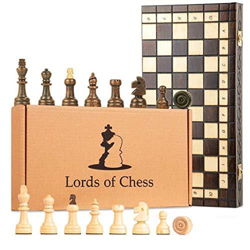 Amazinggirl Schachspiel Schach Holz Schachbrett groß 10x10 mit Dame Spiel - Chess Board 100 Felder Set hochwertig mit Schachfiguren für Kinder Erwachsene 40x40 cm