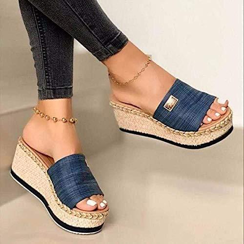 MMWW Suela Suave Zapatos De Piscina Casa,Sandalias de Mujer con Plataforma con cuñas de Paja y Chanclas-Azul_39,Zapatillas Baño Secado Rápido Piscina