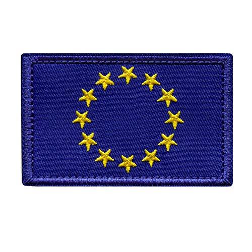Parche Bandera Unión Europea para Ropa Hombres y Mujeres – 8 x 5 cm - Escudo Bordado Militar Táctico UE Colores Originales Chaqueta Mochila Crossfit Aplicaciones para Coser Emblema Europa Apli