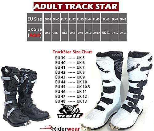 MOTORRADSTIEFEL WULFSPORT TRACK STAR MOTOCROSS QUAD RACING MX STIEFEL ALLROUND STIEFEL WEIß (43) - 2