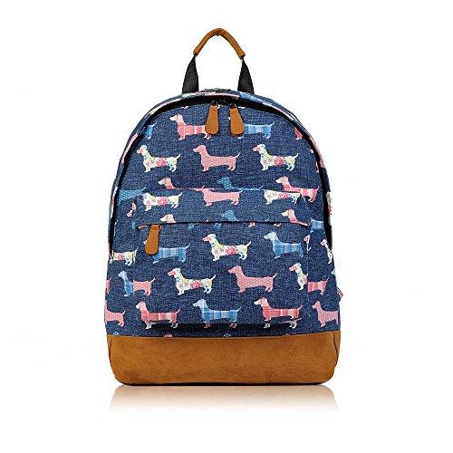Retro Elephant Scotty Dog Woodland Polka Dot Sausage Dog Design Canvas Classic Backpack Rucksack School Bag College Shoulder Bag Hiking Gym Casual (Sausage - Dark Blue)