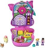 Polly Pocket Cofre con forma de cerdito en la granja, con muñecas y mascotas, juguete para niñas y niños +4 años (Mattel GTN16)