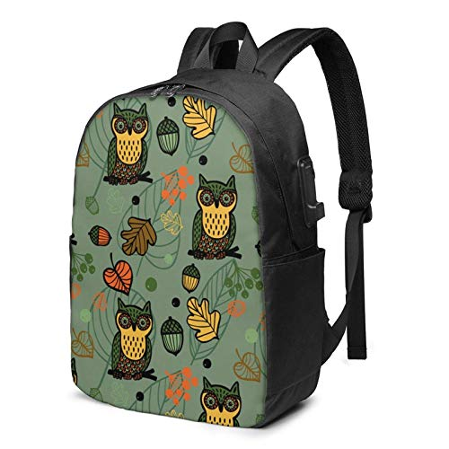 Travel Laptop Backpack, Cute Owls Travel Laptop Backpack College School Bag Casual Daypack with USB Charging Port