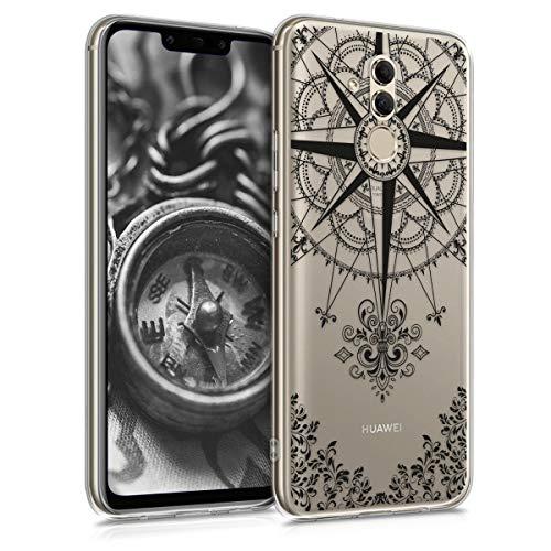 kwmobile Huawei Mate 20 Lite Hülle - Handyhülle für Huawei Mate 20 Lite - Handy Case in Kompass Barock Design Schwarz Transparent