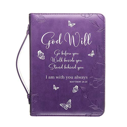 Bible Cover | Book Case/Cover in Purple with Butterflies | Fits Bibles and Books Up to 9 x 6 x 1.5 inches | Blessed | Perfect Christian Gift for Women and Girls | Faux PU Leather | Medium Size