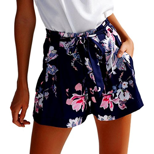 Bekleidung Longra❤️❤️ Damen Kurze Hosen Hotpants Sommer Casual Shorts High Waist Shorts (S, Dark Blue 08)