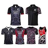 Nouvelle-Zélande Rugby Maillot 2019-20 Coupe du Monde Maori All Black Survêtements, Home Soccer T-Shirt d'Entraînement Respirant Textile T-Shirt de Football-Appearanceclothes-L
