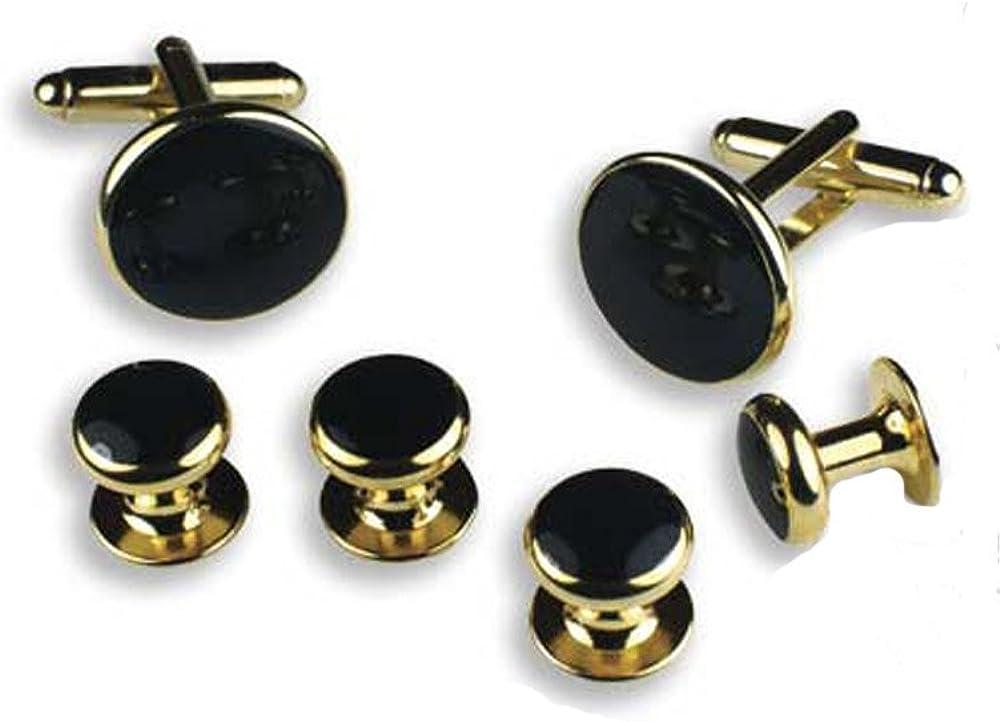 EZ Tuxedo Black and Gold Round Cufflinks and Studs