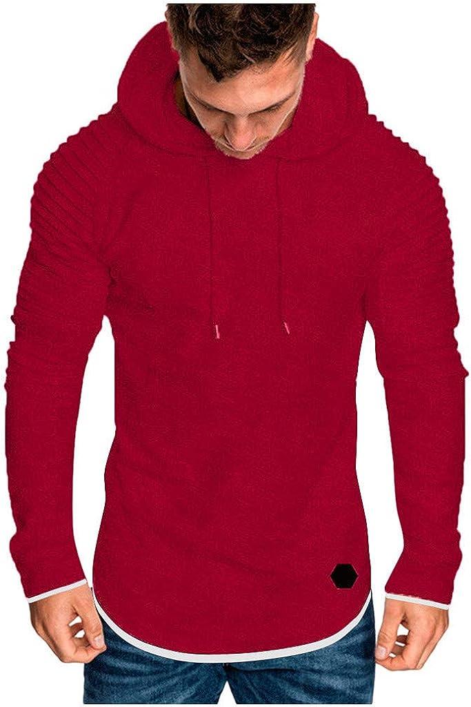 Men's Tops Casual Pullover Hoodie Pleated Raglan Long Sleeve Hooded Basic T-Shirt Slim Fit Sweatshirt Sports Outwear