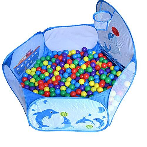 RASENFREUND Set - 700 Stück Bälle mit Bällebad Ø5,5cm Bälle für Kinder Bällebäder Babybälle Plastikbälle Ballpool Pool für Kinder Bällepool 700er Pack -120cm Pool - Blau