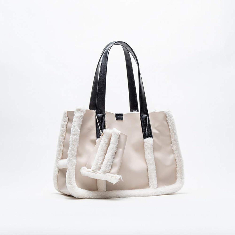 LHKFNU Plush Handbag Women Shopping Bag Large Capacity Shoulder Handbag PU Handle Causal Tote Bags