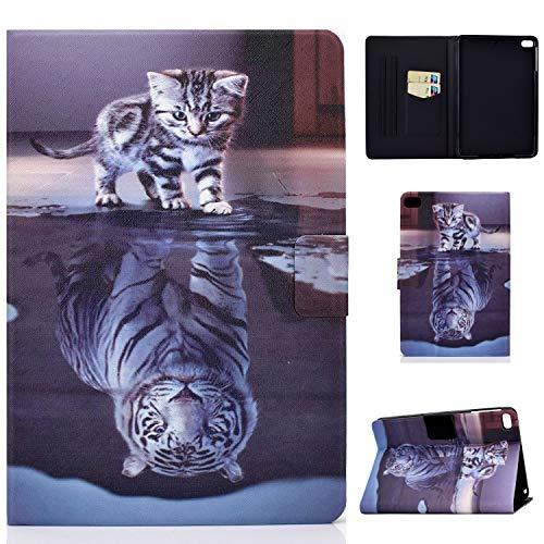 Jajacase Funda Folio iPad Mini 1 2 3 4 5 -Slim Carcasa Cuero PU Silicona y Multiángulo y Soporte Case Cover Protector-Gato y Tigre
