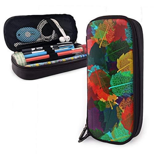 OUYouDeFangA - Bolsa de almacenamiento de piel sintética con diseño de hojas de colores 3D, bolsa de papelería portátil para estudiantes, oficina, carteras con cremallera, bolsa multifunción para maquillaje