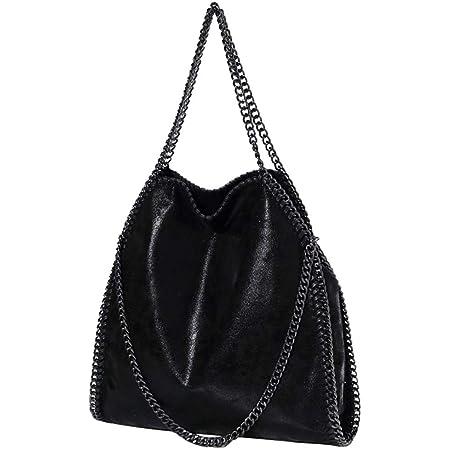 Damen lässige Handtasche PU Leder Umhängetasche Kettentasche Hand Mode Geldbörse Handtasche (schwarz)