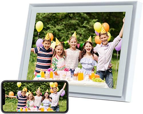 Marcos Fotos Digitales AEEZO de 10 in con Pantalla Táctil IPS, resolución 2K, 16 GB de Almacenamiento y Facilidad de Configuración, Auto-Rotar (Blanco)