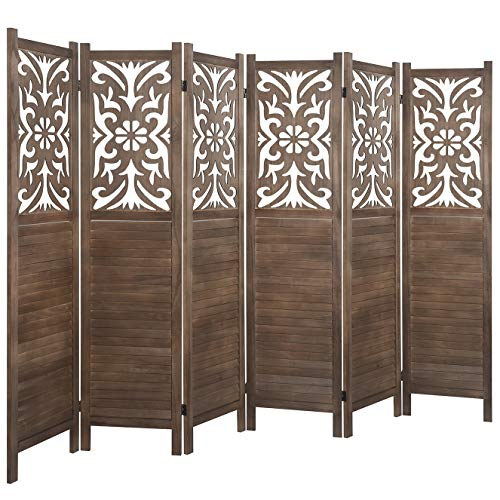 Rose Home Fashion RHF 5.6 ft. Tal Room Divider,Double Hinged, Folding Panel Screen, Floral Cut-Out Room Dividers and Folding Privacy Screens, Freestanding (6 Panel,Brown)