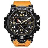 Smael Reloj Militar para Hombre Reloj De Pulsera Impermeable De 50 M Reloj De Cuarzo LED Reloj Deportivo Reloj Deportivo para Hombre (Orange)
