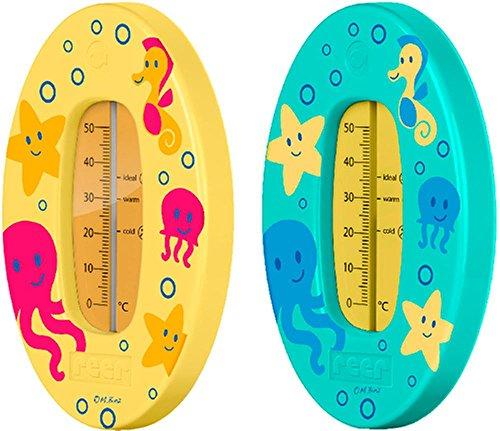 reer 24012 Bade-Thermometer für Baby und Kleinkind, Motiv Unterwasserwelt, grün