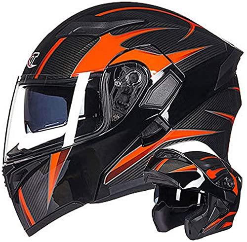 LLDKA Casco de Motocicleta Modular Casco de Fibra de Carbono Textura Integral Auriculares Auriculares de suburbios de Adultos con Doble Longitud Protección Auricular (Size : XL)
