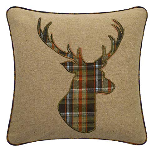 Red Rainbow Tartan Stag 18 Inch Brown, Orange & Latte Cushion Cover Soft Woven Tweed Fabric