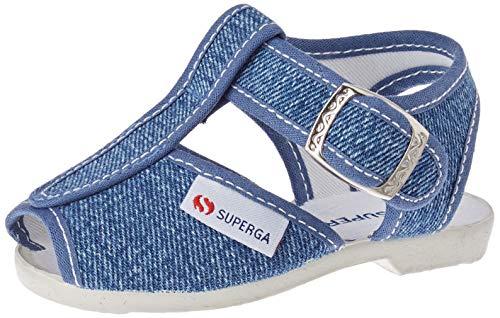 Superga 1200-COTJ, Sandali con Cinturino a T Unisex-Bambini, Blu (Jeans C50), 22 EU