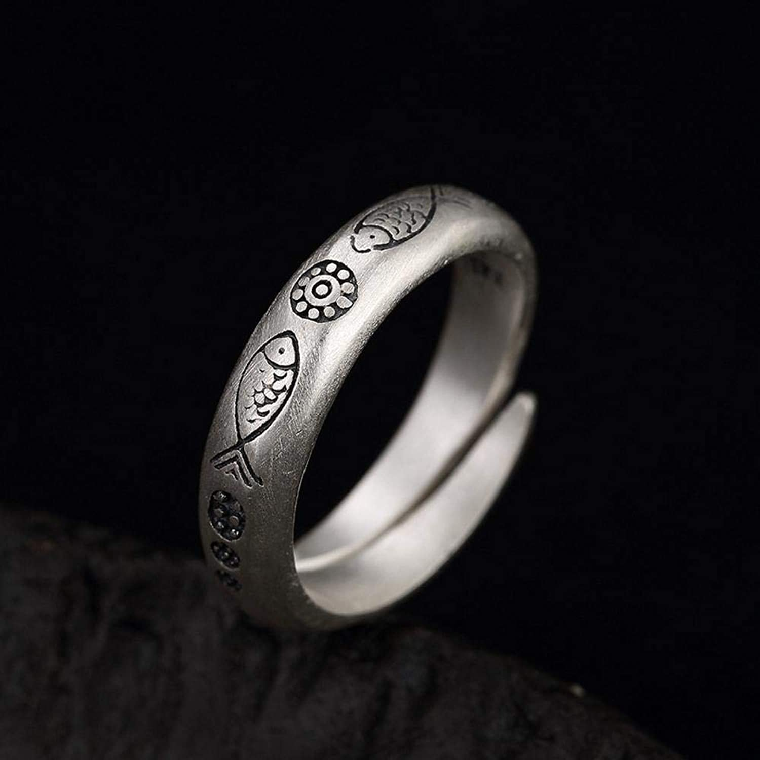 DTZH Rings Jewellery RingS990 Sterling Silver Retro matt Embossed Small Fish Flower Ring Give it to Dear People